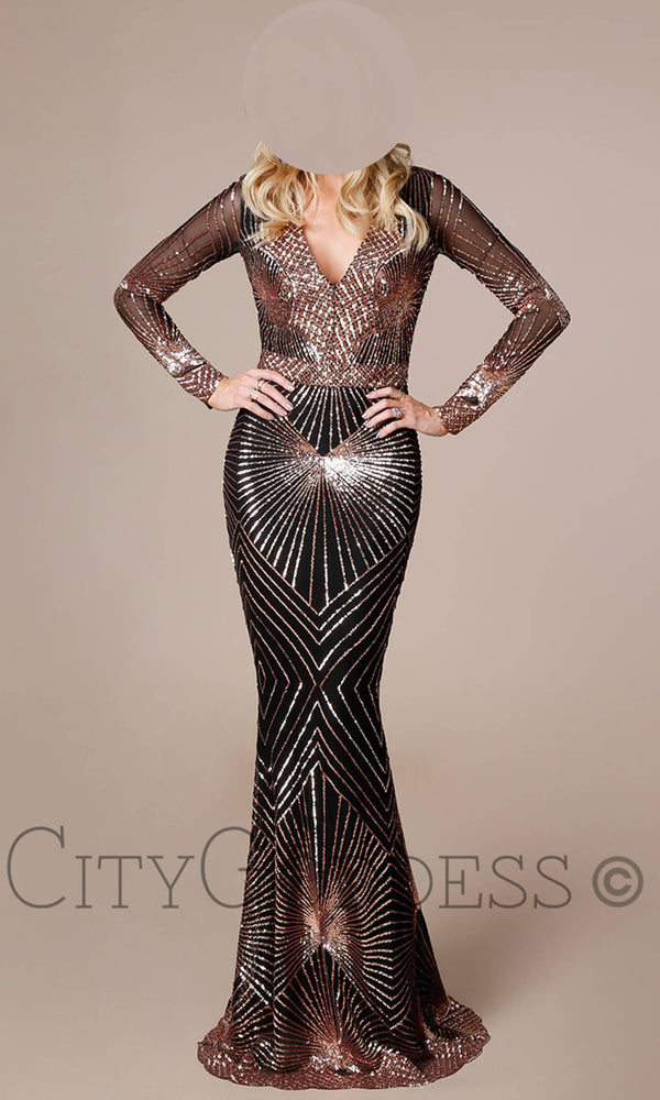 DR1824 Black Champagne City Goddess Sequin Dress With Sleeves - Fab Frocks