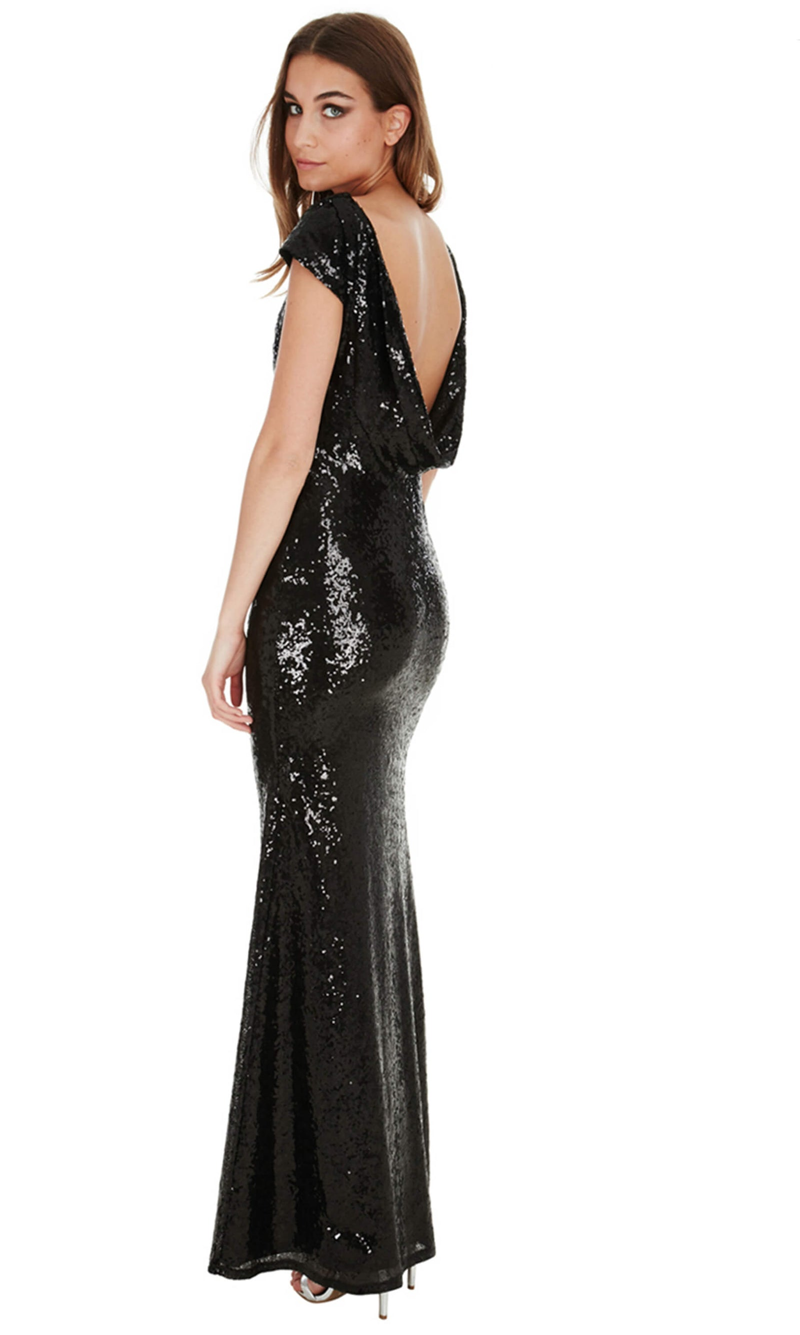 DR592 Black City Goddess Sequin Cowl Back Dress