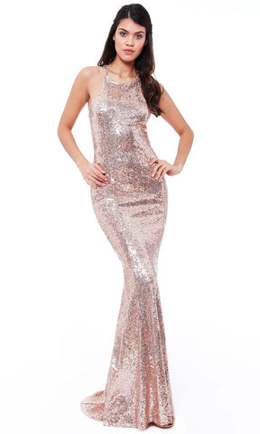 DR757S Champagne City Goddess Sequin Low Back Dress - Fab Frocks