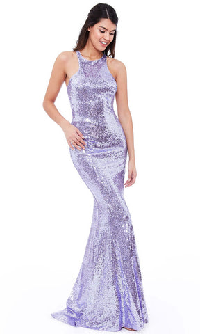 DR757S Lavender City Goddess Sequin Low Back Dress
