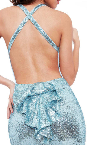 DR757S Powder Blue City Goddess Sequin Low Back Dress