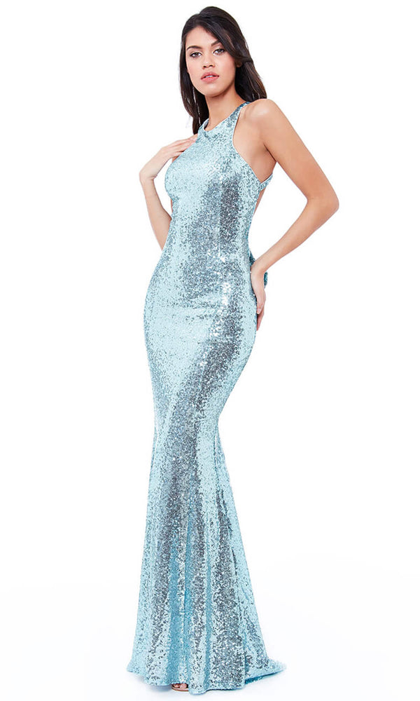 DR757S Powder Blue City Goddess Sequin Low Back Dress - Fab Frocks