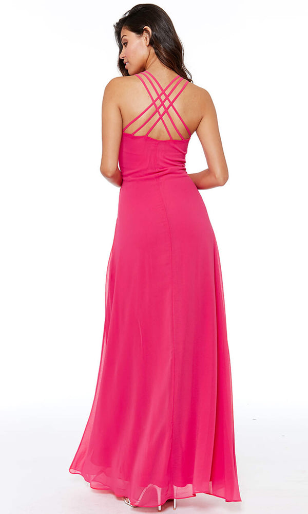 DR807 Cerise City Goddess Chiffon Floaty Evening Dress - Fab Frocks