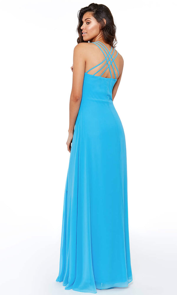 DR807 Turquoise City Goddess Chiffon Floaty Evening Dress - Fab Frocks