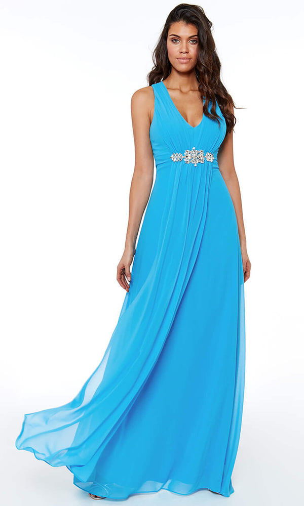 DR807 Turquoise City Goddess Chiffon Floaty Evening Dress