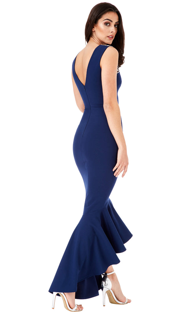DR820B Navy City Goddess Hi-Lo Fishtail Evening Dress