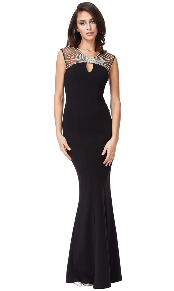 DR903 Black City Goddess Dress With Key Hole Front