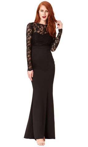 DR987 Black City Goddess Evening Dress With Lace Sleeves - Fab Frocks