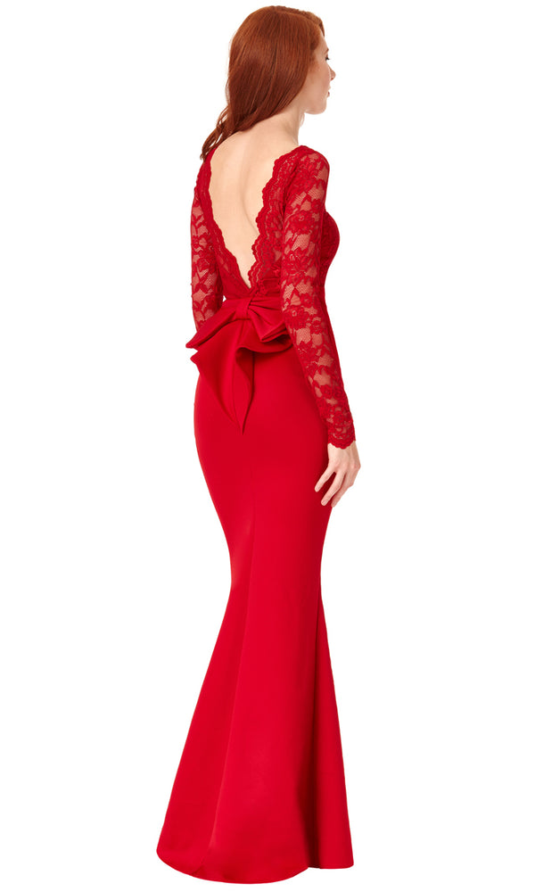 DR987 Red City Goddess Bow Back Dress With Lace Sleeves