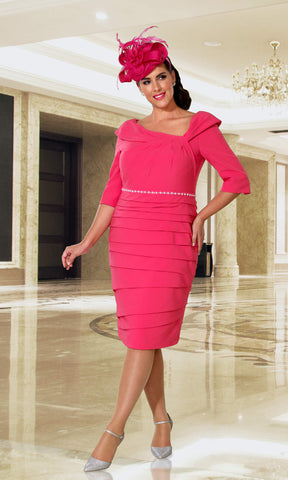 DU337 Lipstick Dressed Up Layered Special Occasion Dress - Fab Frocks