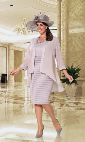 DU347 Dusty Pink Dressed Up Dress With Chiffon Jacket - Fab Frocks