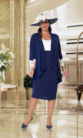 DU362 Navy Ivory Dressed Up Dress With Lace Sleeves & Jacket - Fab Frocks