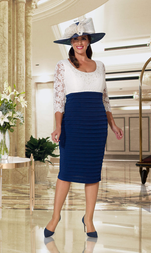 DU362 Navy Ivory Dressed Up Dress With Lace Sleeves & Jacket