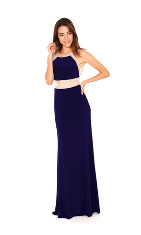 Dolly Midnight Crystal Breeze Mock 2 Piece Evening Dress