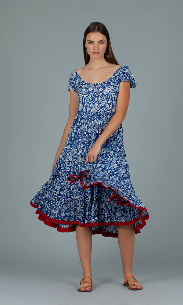 Dream Fashions AN314C Pranella Floral Blue Dress - Fab Frocks