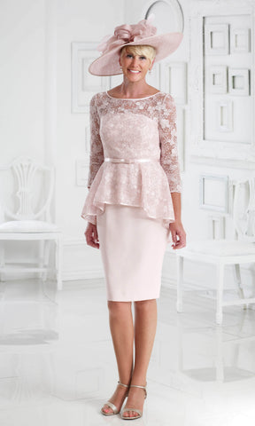 DC369 Pale Peach Dress Code Lace Peplum Occasion Dress - Fab Frocks