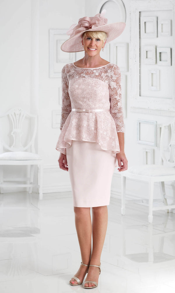DC369 Pale Peach Dress Code Lace Peplum Occasion Dress