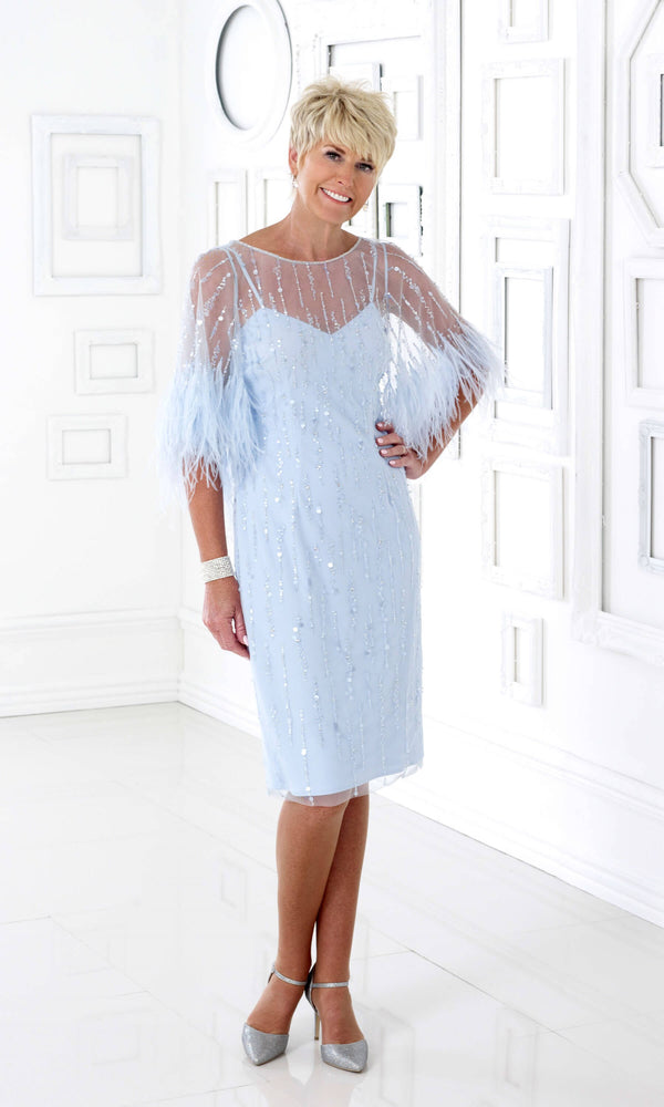 DC375E Blue Dress Code Feather Special Occasion Dress
