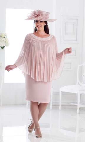 DU275 Petal Pink Dressed Up Dress With Pleated Cape