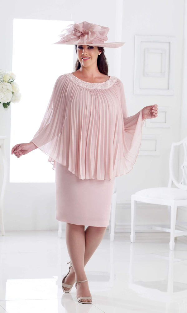DU275 Petal Pink Dressed Up Dress With Pleated Cape - Fab Frocks