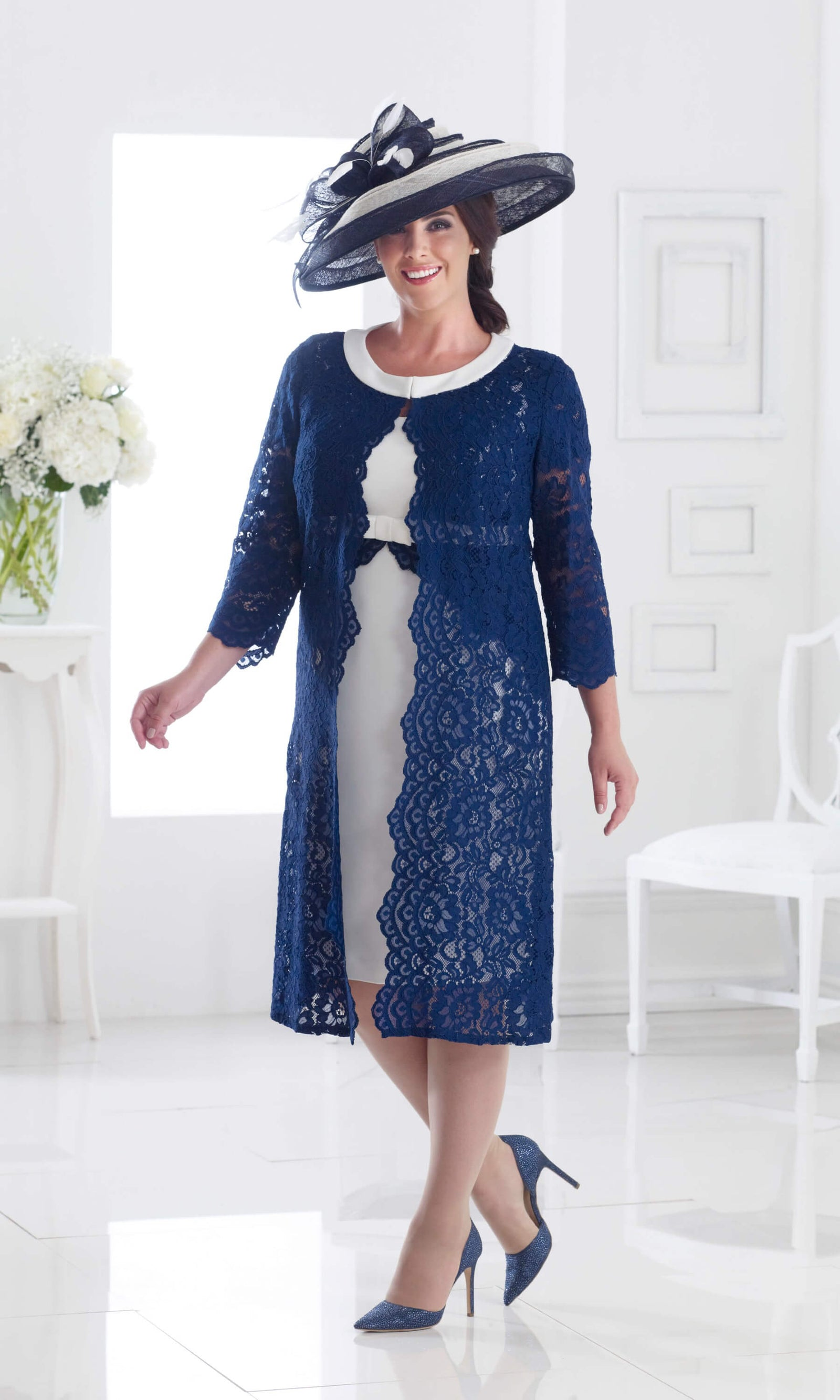 DU287 Navy Ivory Dressed Up Dress With Lace Coat