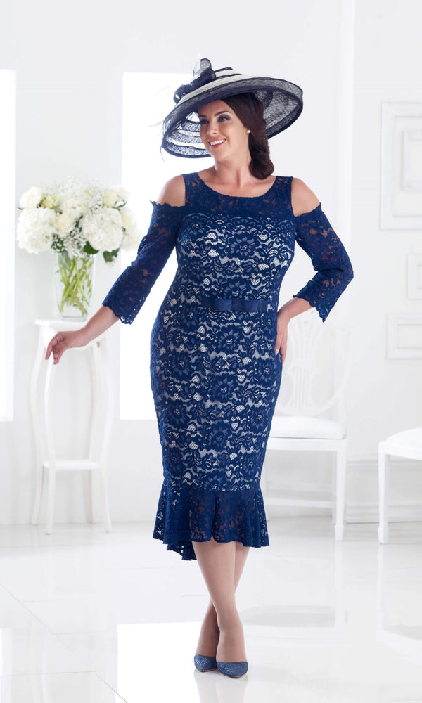DU288 Navy Dressed Up Lace Cold Shoulder Midi Dress - Fab Frocks