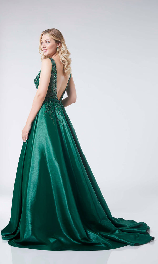 Elma Emerald Tiffanys Low Back Ballgown With Train - Fab Frocks
