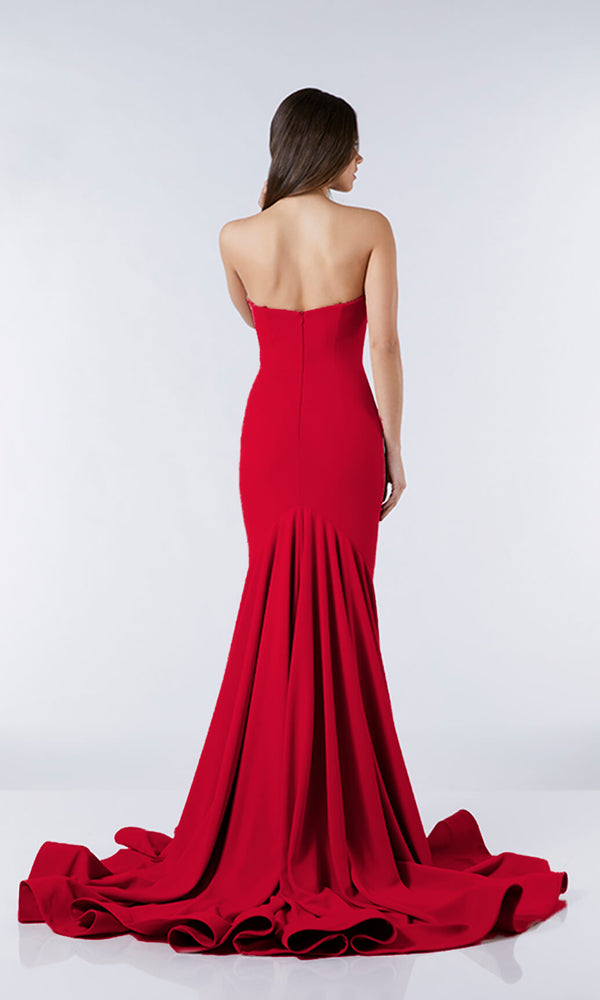 Esme Red Tiffanys Plain Strapless Prom Evening Dress - Fab Frocks
