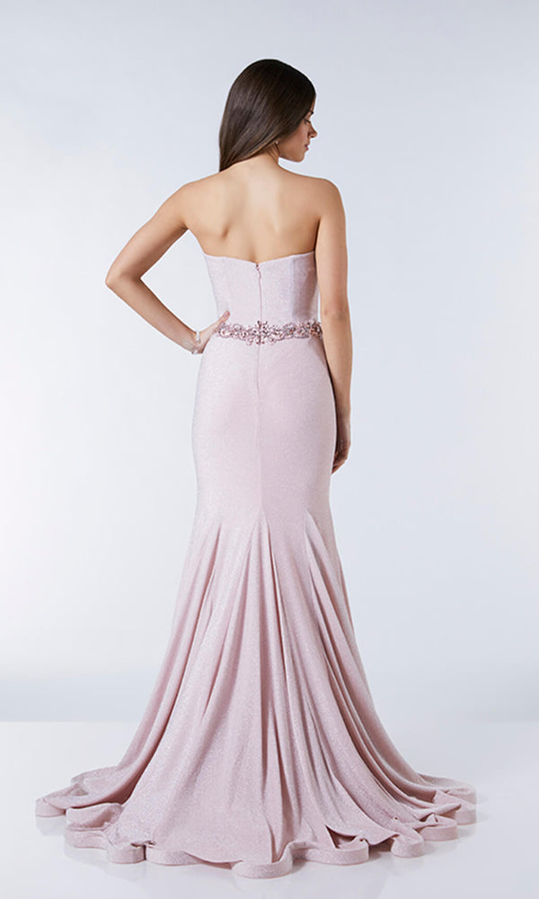 Freya Rose Tiffanys Grecian Style Strapless Glitter Fabric Dress