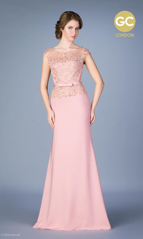 4615G Dusty Rose Gino Cerruti Lace Peplum Style Gown