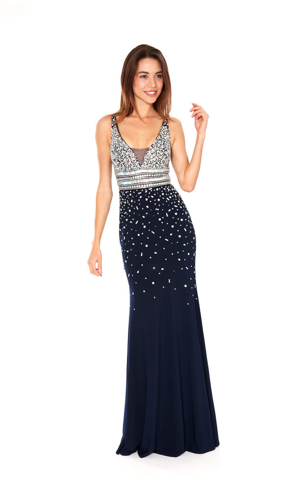 Gianna Midnight Crystal Breeze Plunge Neck Sparkle Dress - Fab Frocks