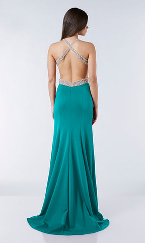 Harriet Teal Tiffanys Low Back Evening Prom Dress - Fab Frocks