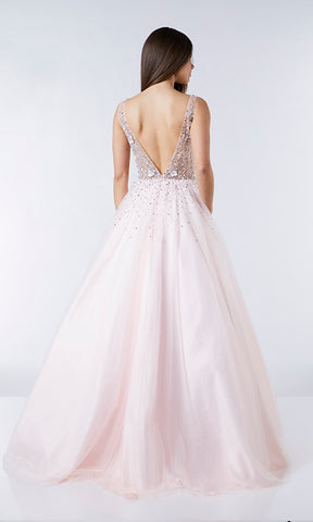 Hollie Blush Tiffanys Illusion Prom Ballgown - Fab Frocks