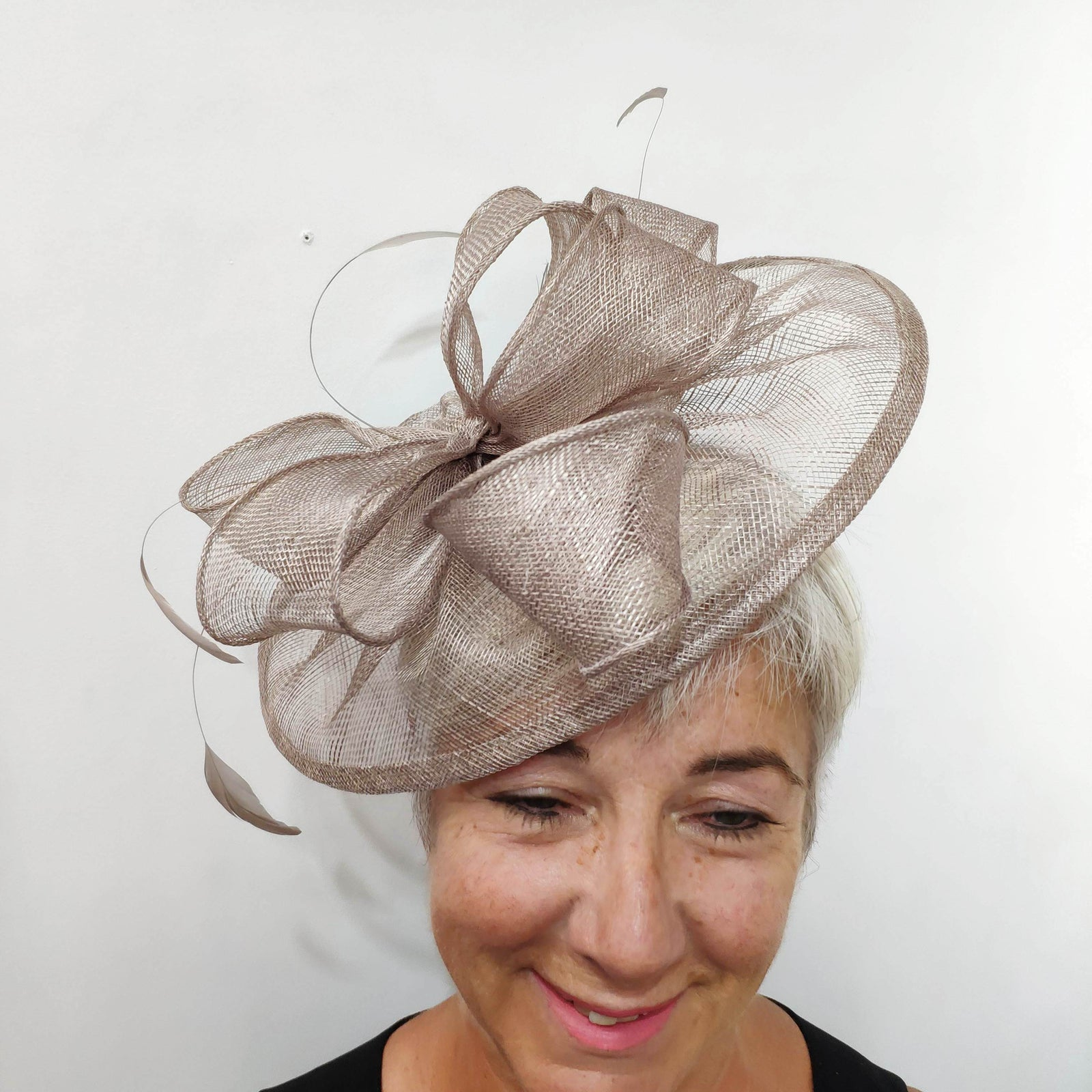 4QT24 Taupe Couture Club Fascinator - Fab Frocks