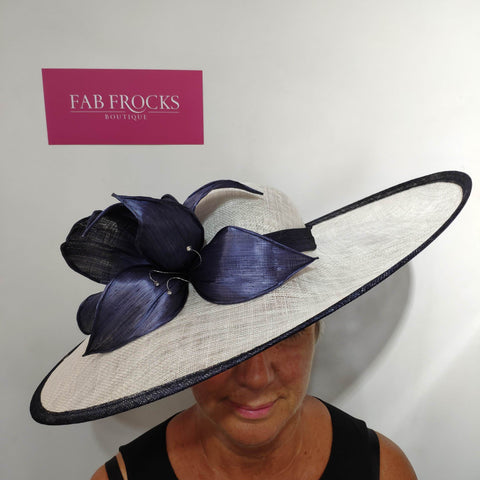 9320 White Midnight Blue Failsworth Millinery Hatinator Disc - Fab Frocks