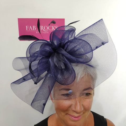 4QT22 Navy Couture Club Mesh Fascinator - Fab Frocks