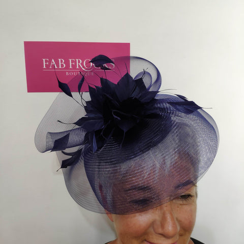 BL5172 Navy Fascinator Fischer Accessories - Fab Frocks