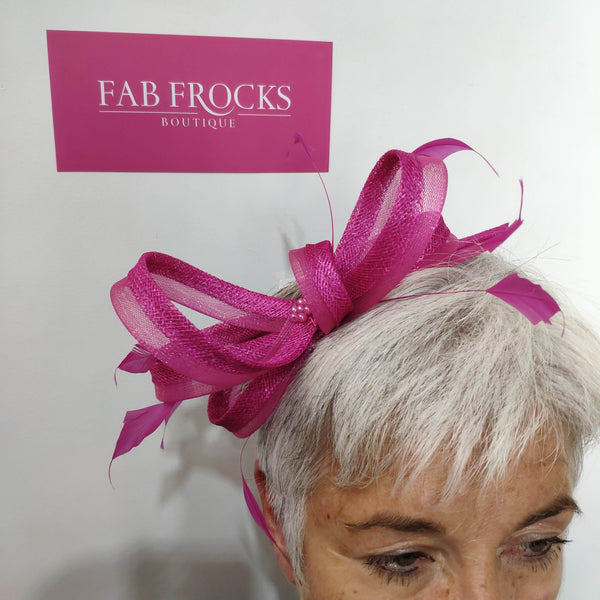 BL5179 Magenta Fischer Accessories Fascinator - Fab Frocks