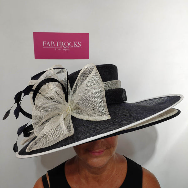9318 Navy Ivory Failsworth Millinery Two Layer Hat - Fab Frocks