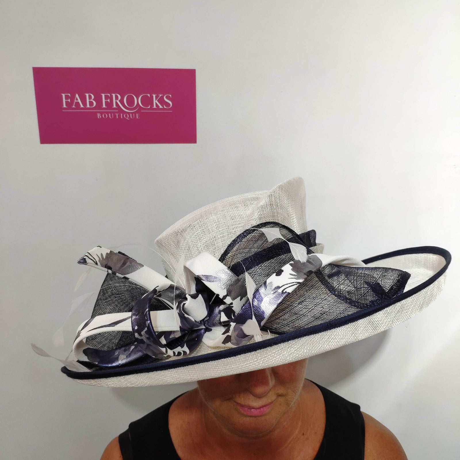 7382CP Foil Cream Condici Hat - Fab Frocks