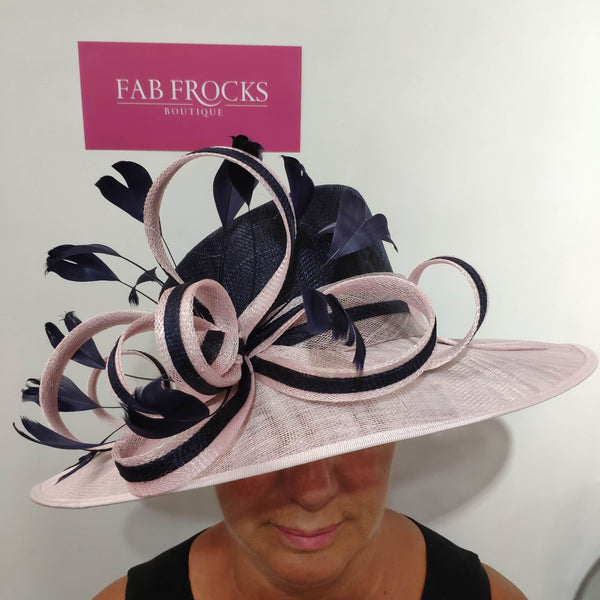 7393N Condici Hat Rosewater Navy - Fab Frocks