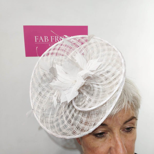 Fischers Accessories BL1115 White Fascinator - Fab Frocks
