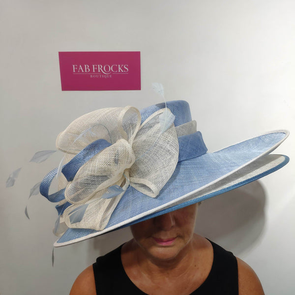 9318 Vista Blue Ivory Failsworth Millinery Two Layer Hat - Fab Frocks