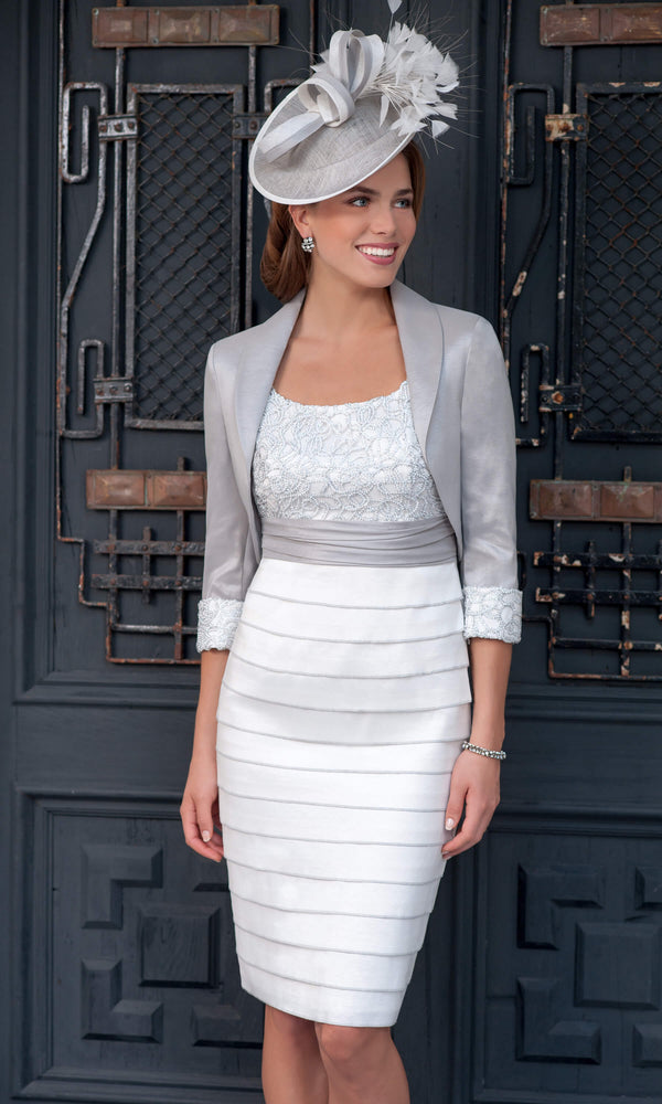 ISC970 Cream French Grey Ispirato Layered Dress & Bolero