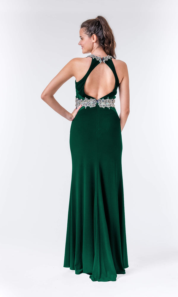 Ivy Green Crystal Breeze Evening Prom Dress & Racer Back