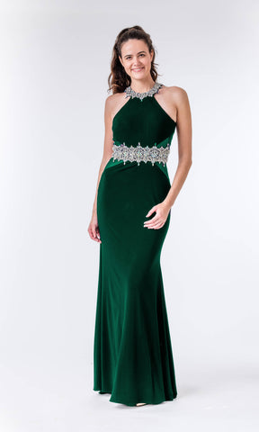 Ivy Green Crystal Breeze Evening Prom Dress & Racer Back - Fab Frocks