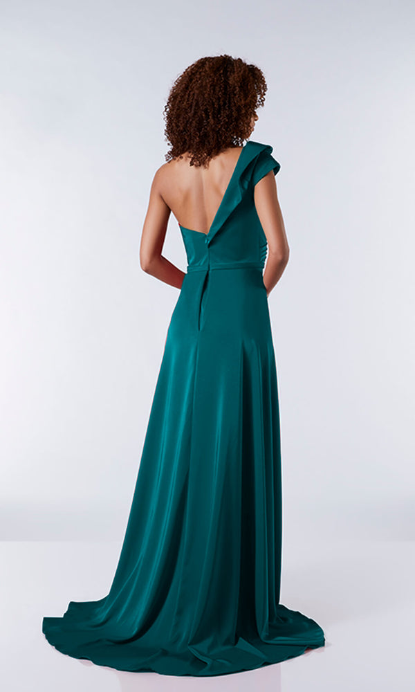 Jazz Green Tiffanys One Shoulder Ruffle Ballgown - Fab Frocks