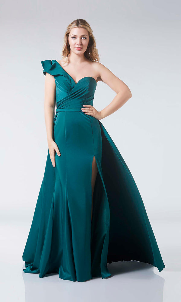 Jazz Green Tiffanys One Shoulder Ruffle Ballgown