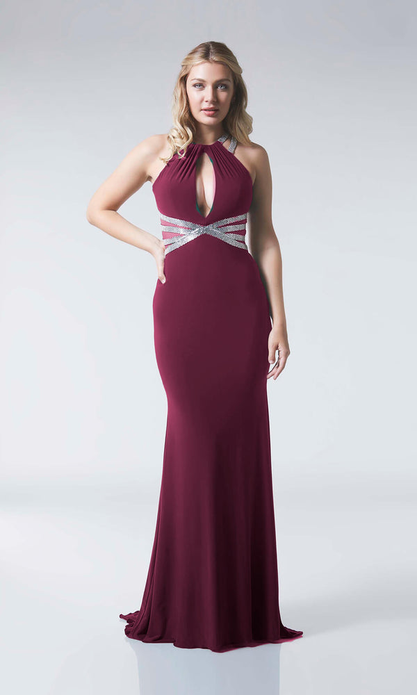 Kenzy Wine Silver Tiffanys Low Back Jersey Evening Prom Dress