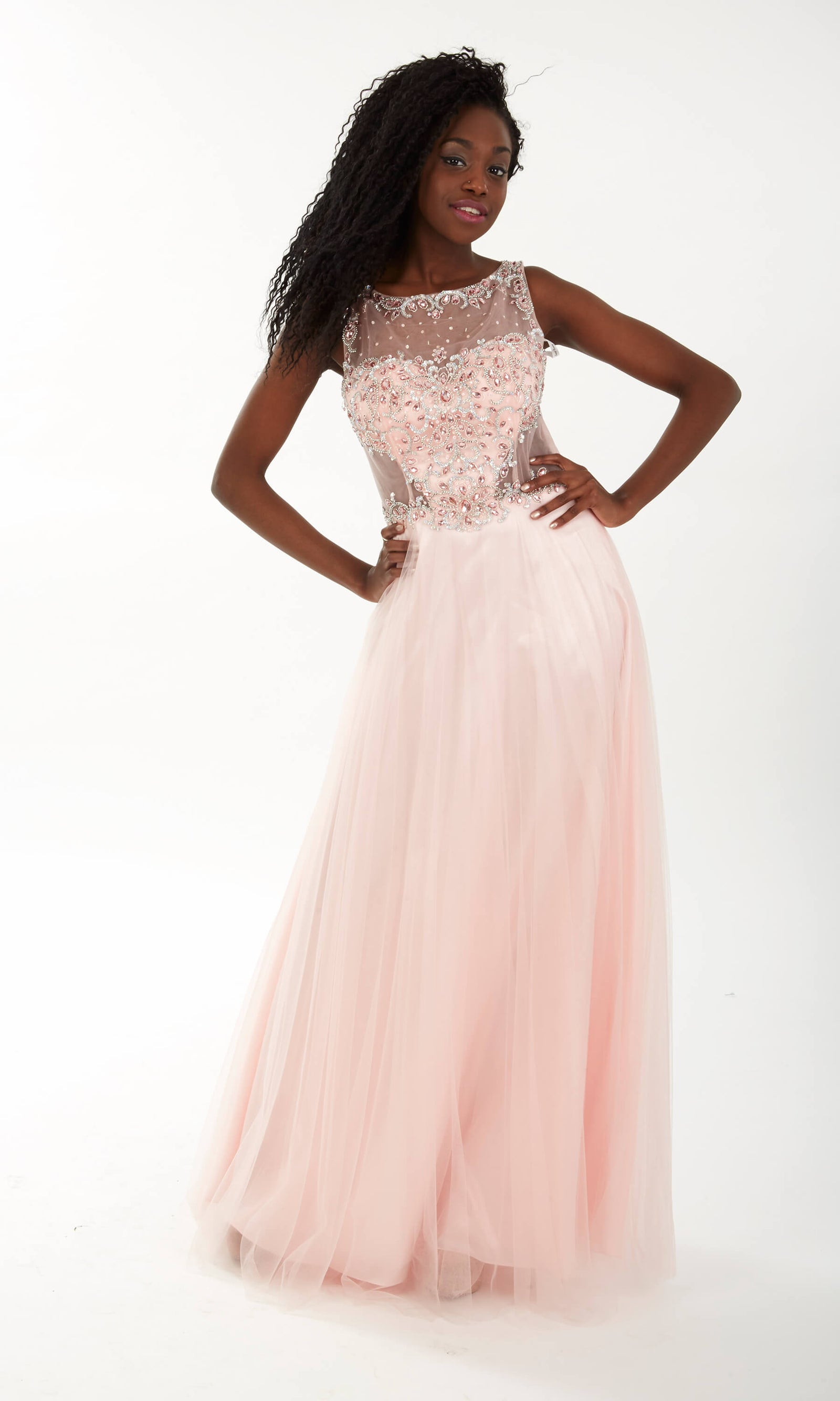 Laura Pink Crystal Breeze Net Ballgown With Sparkle Top - Fab Frocks